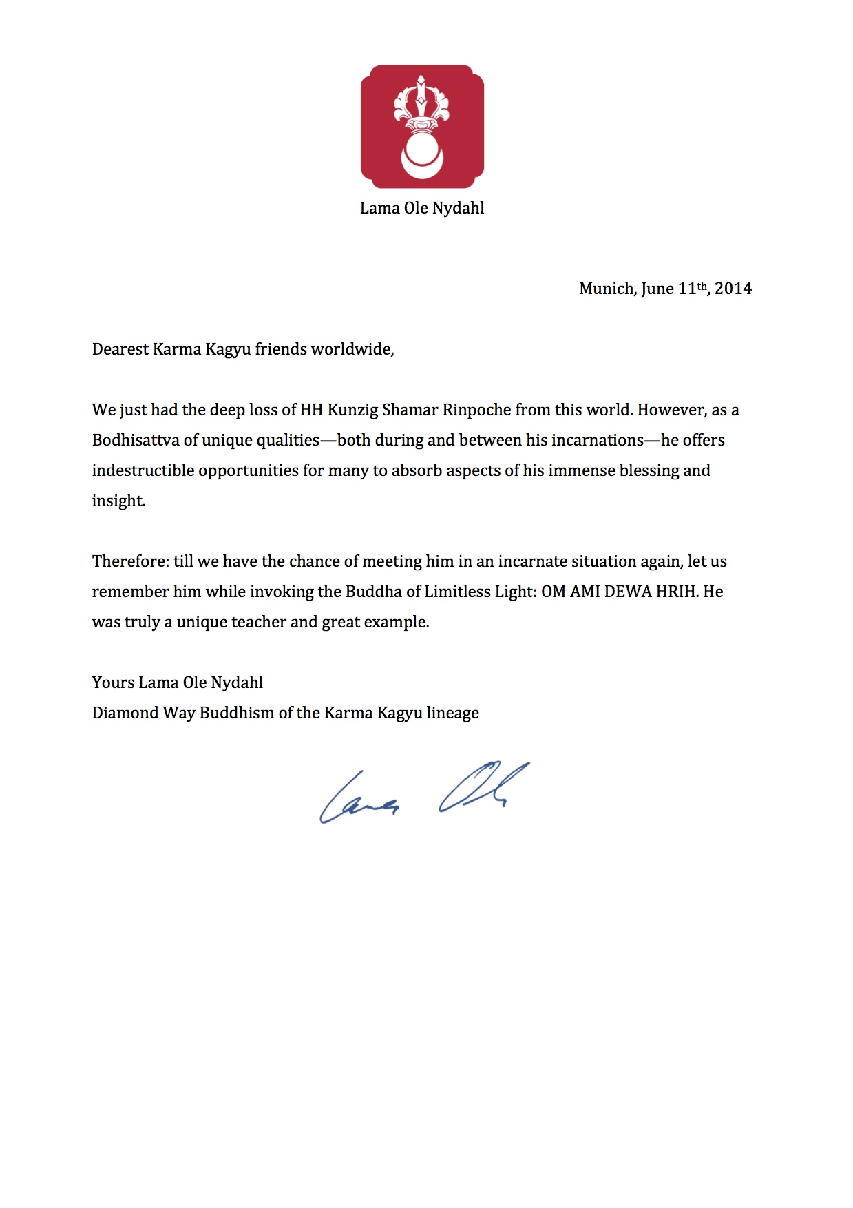 condolence letter from lama ole